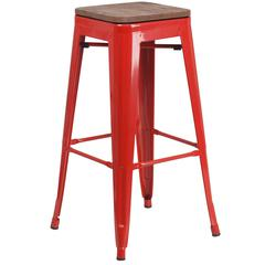 """30"""" High Backless Red Metal Barstool with Square Wood Seat"""