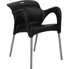 HERCULES Series Black Plastic Stack Chair with Arms and Titanium Frame