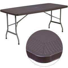 32.5''W x 67.5''L Brown Rattan Plastic Folding Table