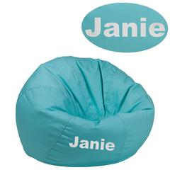 Personalized Small Solid Mint Green Kids Bean Bag Chair