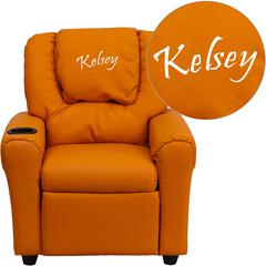 Personalized Orange Vinyl Kids Recliner with Cup Holder and Headrest