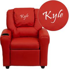 Personalized Red Vinyl Kids Recliner with Cup Holder and Headrest