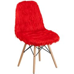 Shaggy Dog Red Accent Chair