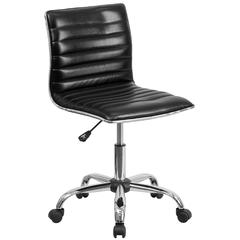 Low Back Designer Armless Black Ribbed Swivel Task Chair