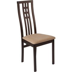 Phillips Espresso Finish Wood Dining Chair with Triple Window Pane Back and Brown Fabric Seat
