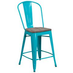 """24"""" High Crystal Teal-Blue Metal Counter Height Stool with Back and Wood Seat"""