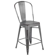 "24"" High Distressed Silver Gray Metal Indoor-Outdoor Counter Height Stool with Back"