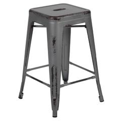 "24"" High Backless Distressed Silver Gray Metal Indoor-Outdoor Counter Height Stool"
