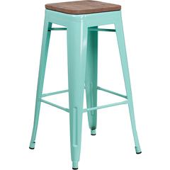 """30"""" High Backless Mint Green Barstool with Square Wood Seat"""