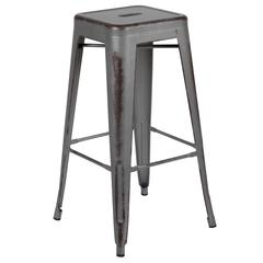 "30"" High Backless Distressed Silver Gray Metal Indoor-Outdoor Barstool"