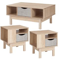 St. Regis Collection 3 Piece Coffee and End Table in Oak Wood Grain Finish with Gray Drawers