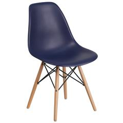Elon Series Navy Plastic Chair with Wood Basease