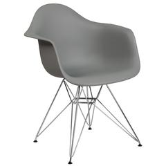 Alonza Series Gray Plastic Chair with Chrome Base