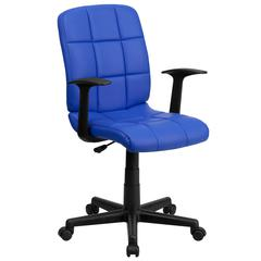 Mid-Back Blue Quilted Vinyl Swivel Task Chair with Arms