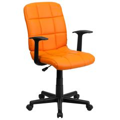 Mid-Back Orange Quilted Vinyl Swivel Task Chair with Arms