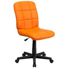 Mid-Back Orange Quilted Vinyl Swivel Task Chair