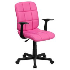 Mid-Back Pink Quilted Vinyl Swivel Task Chair with Arms