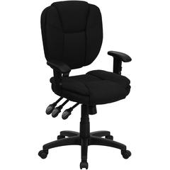 Mid-Back Black Fabric Multifunction Ergonomic Swivel Task Chair with Pillow Top Cushioning and Arms