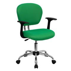 Personalized Mid-Back Bright Green Mesh Swivel Task Chair with Chrome Base and Arms