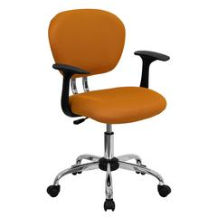 Personalized Mid-Back Orange Mesh Swivel Task Chair with Chrome Base and Arms