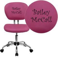 Personalized Mid-Back Pink Mesh Swivel Task Chair with Chrome Base