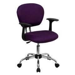 Personalized Mid-Back Purple Mesh Swivel Task Chair with Chrome Base and Arms