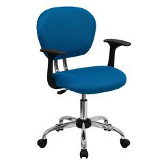 Personalized Mid-Back Turquoise Mesh Swivel Task Chair with Chrome Base and Arms