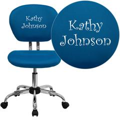 Personalized Mid-Back Turquoise Mesh Swivel Task Chair with Chrome Base
