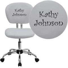 Personalized Mid-Back White Mesh Swivel Task Chair with Chrome Base