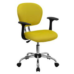 Personalized Mid-Back Yellow Mesh Swivel Task Chair with Chrome Base and Arms
