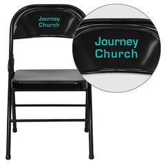 Personalized HERCULES Series Triple Braced & Double-Hinged Black Metal Folding Chair