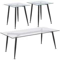 Chetnut Hill Collection 3 Piece Coffee and End Table Set with Glass Tops and Sleek Matte Black Metal Legs