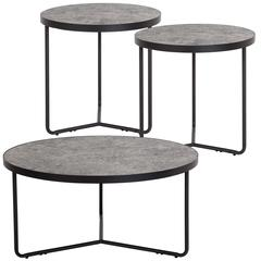 Providence Collection 3 Piece Round Coffee and End Table Set in Concrete Finish