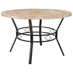 """Tremont 47"""" Round Dining Table in Quartz Marble-Like Finish"""