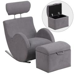 HERCULES Series Gray Fabric Rocking Chair with Storage Ottoman