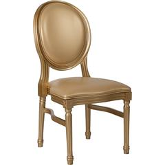 HERCULES Series 900 lb. Capacity King Louis Chair with Gold Vinyl Back and Seat and Gold Frame