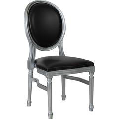 HERCULES Series 900 lb. Capacity King Louis Chair with Black Vinyl Back and Seat and Silver Frame
