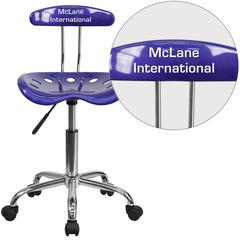 Personalized Vibrant Deep Blue and Chrome Swivel Task Chair with Tractor Seat