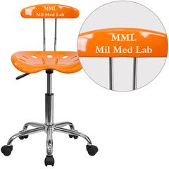 Personalized Vibrant Orange and Chrome Swivel Task Chair with Tractor Seat