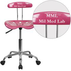 Personalized Vibrant Pink and Chrome Swivel Task Chair with Tractor Seat