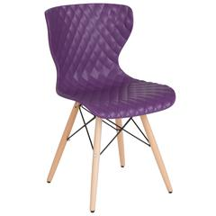 Bedford Contemporary Design Purple Plastic Chair with Wooden Legs