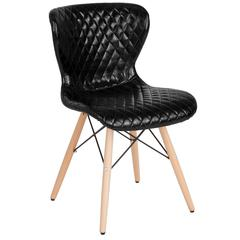 Riverside Contemporary Upholstered Chair with Wooden Legs in Black Vinyl