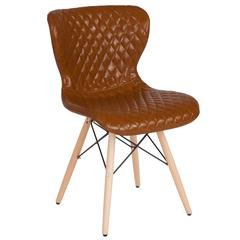 Riverside Contemporary Upholstered Chair with Wooden Legs in Saddle Vinyl