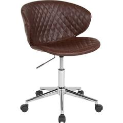 Cambridge Home and Office Upholstered Mid-Back Chair in Brown Vinyl