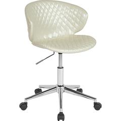 Cambridge Home and Office Upholstered Mid-Back Chair in Ivory Vinyl