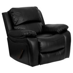 Personalized Black Leather Rocker Recliner