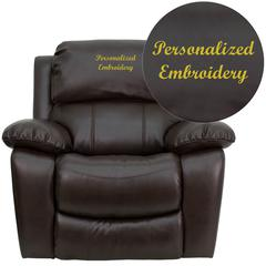 Personalized Brown Leather Rocker Recliner