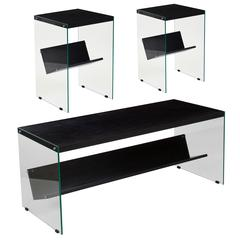Highwood Collection 3 Piece Coffee and End Table Set in Espresso Finish with Glass Frames