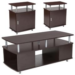 Markham Collection 3 Piece Coffee and End Table Set in Espresso Wood Finish