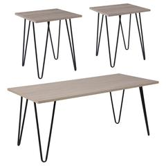 Oak Park Collection 3 Piece Coffee and End Table Set in Driftwood Wood Grain Finish and Black Metal Legs